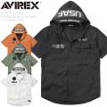 ★スプリングセール★AVIREX アビレックス 6105092 S/S STRETCH HOOD ZIP シャツ F-117 NIGHTHAWK