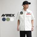 ★スプリングセール★AVIREX アビレックス 6105100 パッチドミリタリーシャツ ファイヤー&アイス ミリタリーファッション