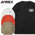 AVIREX アビレックス 6193470 L/S ミニワッフル クルーネック プリントTシャツ【キャンペーン対象外】