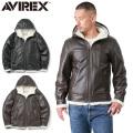 【即日出荷対応】AVIREX アビレックス 6181065 フリース ボンディング レザー ジップパーカー【キャンペーン対象外】
