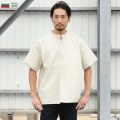 ☆20%OFF割引中☆新品 ブルガリア軍 1950年代復刻 半袖 グランパシャツ オフホワイト ミリタリーファッション