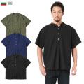 ☆20%OFF割引中☆新品 ブルガリア軍 1950年代復刻 半袖 グランパシャツ 後染め ミリタリーファッション