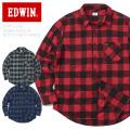 EDWIN エドウィン ET2083 L/S レギュラー ブロックチェック シャツ フランネルシャツ 長袖