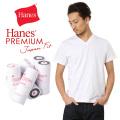 Hanes ヘインズ HM1-F002 PREMIUM JAPAN FIT Vネック Tシャツ WHITE