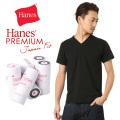 Hanes ヘインズ HM1-F002 PREMIUM JAPAN FIT Vネック Tシャツ BLACK