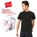Hanes ヘインズ HM1-F004 PREMIUM JAPAN FIT クルーネック ポケットTシャツ BLACK