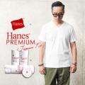 ★カートで18%OFF対象品★【即日出荷対応】Hanes ヘインズ HM1-F002 PREMIUM JAPAN FIT Vネック Tシャツ WHITE【Sx】【T】