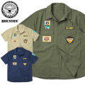 HOUSTON ヒューストン 40594 S/S PATCHED POPLIN ミリタリーシャツ ARMY