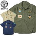 ☆ただいま10%OFF☆HOUSTON ヒューストン 40594 S/S PATCHED POPLIN ミリタリーシャツ ARMY 半袖