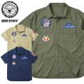 ☆大幅割引中!クリアランスバーゲン☆HOUSTON ヒューストン 40595 S/S PATCHED POPLIN ミリタリーシャツ USAF 半袖