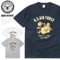 ☆今だけ25%割引中☆【ネコポス便対応】HOUSTON ヒューストン 21663 ミリタリー プリント Tシャツ U.S.AIR FORCE BEAVER(U.S.エアフォース ビーバー)