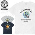【ネコポス便対応】HOUSTON ヒューストン 21664 ミリタリー プリント Tシャツ LUCKY THIRTEEN CAT(ラッキーサーティーン キャット) ファッション