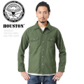 HOUSTON ヒューストン 40545UD VINTAGE ARMY SHIRT ミリタリーシャツ USED加工 ミリタリーファッション