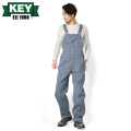 KEY キー Bib Overalls ビブオーバーオール ハイバック ヒッコリーストライプ【KEY273-HC】
