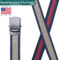 SUSPENDER FACTORY サスペンダーファクトリー MF110 キャンバスベルト ボーダー ブラックバックル MADE IN USA