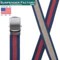 【即日出荷対応】SUSPENDER FACTORY サスペンダーファクトリー MF110 キャンバスベルト ボーダー シルバーバックル MADE IN USA【キャンペーン対象外】