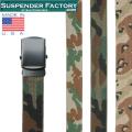 ☆20%OFF割引中☆【即日出荷対応】SUSPENDER FACTORY サスペンダーファクトリー MF110 キャンバスベルト CAMO ブラックバックル MADE IN USA