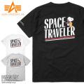 ALPHA アルファ TC1427 PEANUTS コラボプリント 半袖 クルーネック ポケットTシャツ SPACE TRAVELER