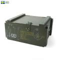 ☆只今20%OFF割引中☆実物 USED スウェーデン軍 アミニッション ウッドボックス メタルハンドル 軍放出品 ミリタリー