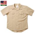 実物 新品 米軍 DSCP 半袖 サービスドレスシャツ KHAKI(SHIRT, MAN'S, SS, KHAKI, ATHLETIC, NAVY)