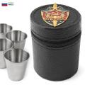 【即日出荷対応】実物 新品 ロシア軍 KGB ステンレス ショットグラス 4点セット 専用ケース付き ミリタリー 軍放出品