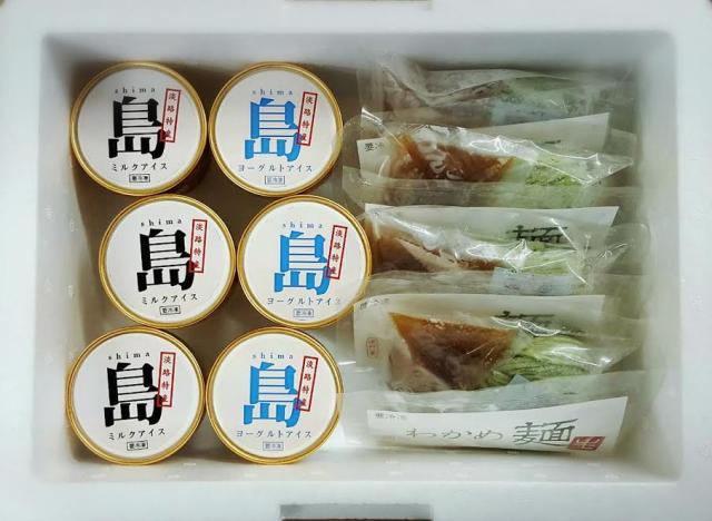 淡路島の恵(ミルクアイス・ヨーグルトアイス)・わかめ麺セット