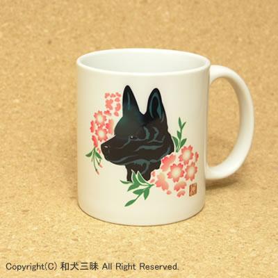 甲斐犬と桜(マグカップ)