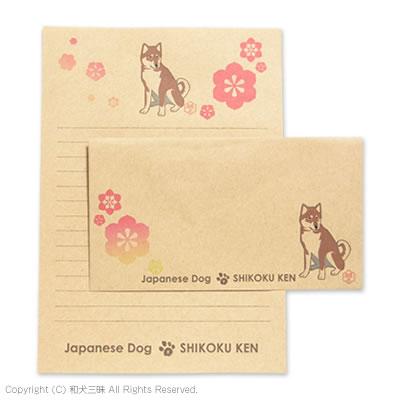 四国犬と鉄線レターセット