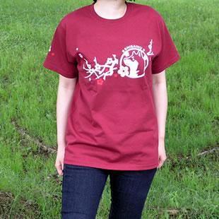 和犬と梅枝Tシャツ