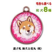 迷子札-和犬と花丸(桜) 毛色も選べる8犬種 秋田犬や柴犬のかわいいネームタグ