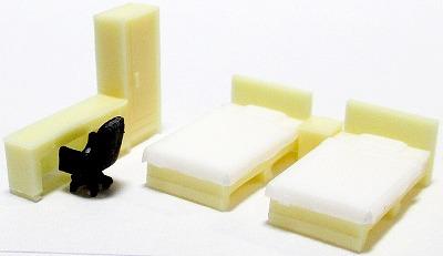 1/150 情景アクセサリー 寝室A(薄茶)【YSK】【鉄道模型】【カラーレジン製】【Nゲージ】【ネコポス可】