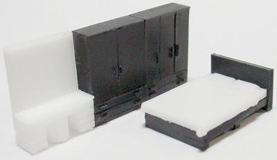 1/150 情景アクセサリー 寝室B(黒)【YSK】【鉄道模型】【カラーレジン製】【Nゲージ】【ネコポス可】