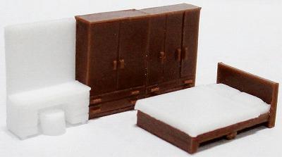 1/150 情景アクセサリー 寝室B(茶色)【YSK】【鉄道模型】【カラーレジン製】【Nゲージ】【ネコポス可】