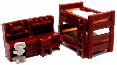 1/150 情景アクセサリー 子供部屋(茶)【YSK】【鉄道模型】【カラーレジン製】【Nゲージ】【ネコポス可】
