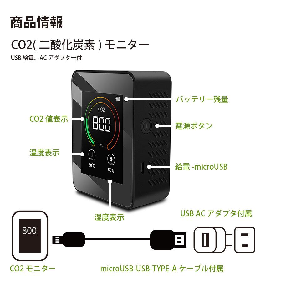 CO2モニターセンサー 大気質 CO2テスト USB充電 ACアダプター コロナ モニター計測器 温度計 湿度計