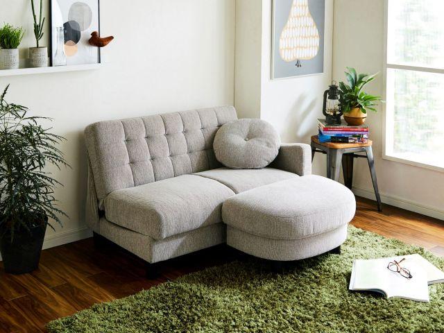 2人掛けソファー、収納付き、オットマン