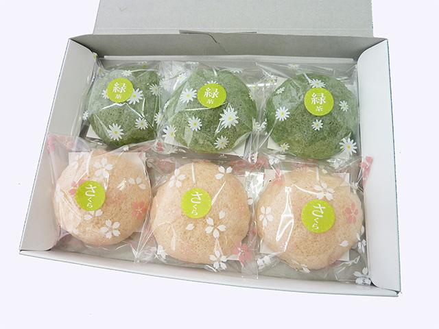 洗顔用こんにゃくパフ『和の力』【春季限定】 さくらもちセット さくら3個 緑茶3個 計6個箱入