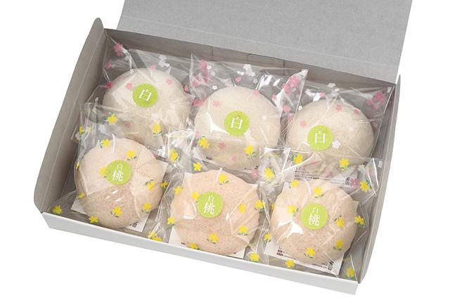 洗顔用こんにゃくパフ『和の力』【夏季限定】 白3個 白桃3個 計6個箱入