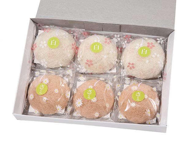 洗顔用こんにゃくパフ『和の力』【春季限定】 白3個、さくら3個 計6個箱入
