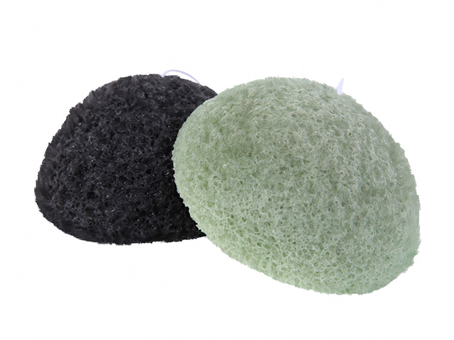 【送料無料】洗顔用こんにゃくパフ『和の力』炭と緑茶のお試しセット/お1人様2セット限定