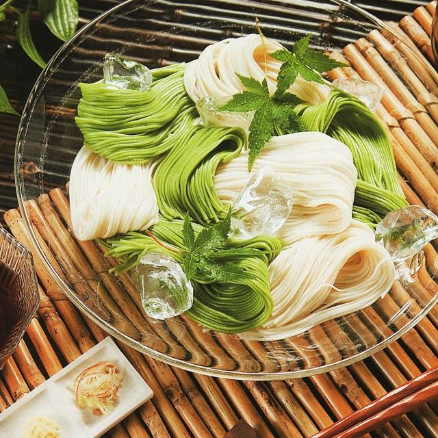 芽かぶそうめん,手延べ素麺,盛り付け例