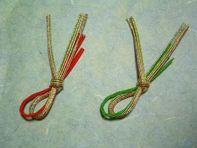 箸置 水引飾り みやび 6組セット(赤・緑) 4.5cm×8.8cm