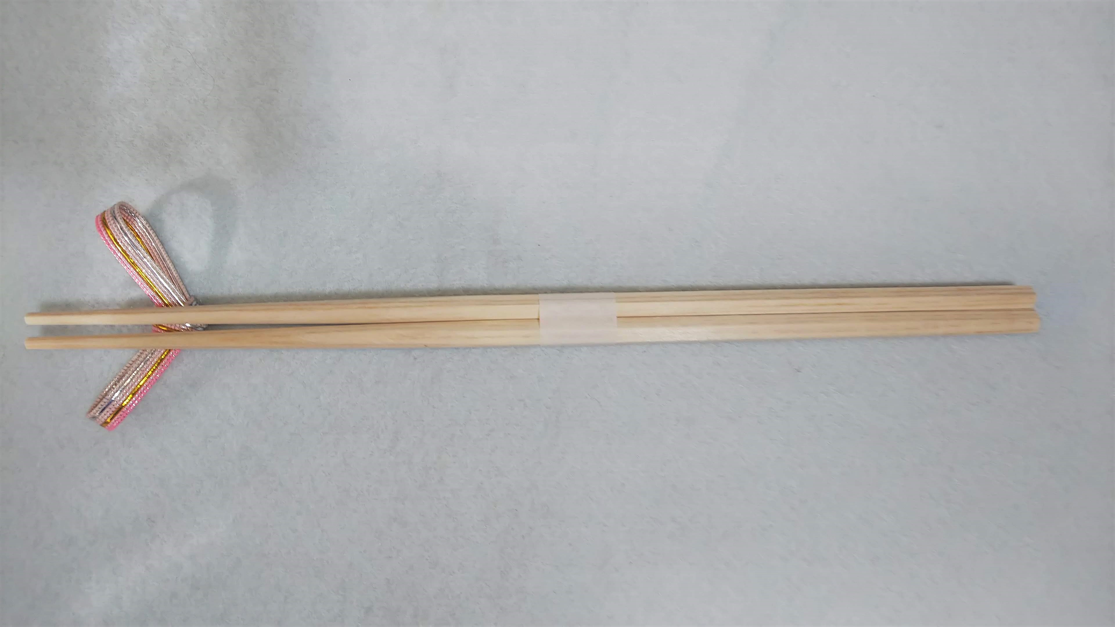 桧六角箸 26cm 片口型 白帯巻 100膳