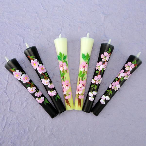 【花の詩・特別柄】  絵ろうそく3号(手描き) 6本入  桜づくし