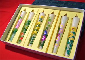6本セット/3号絵ろうそく「オリジナル花の詩」(手描き)