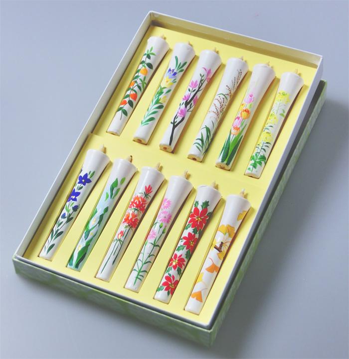 6号絵ろうそく オリジナル「花こよみ」(手描き)12本入