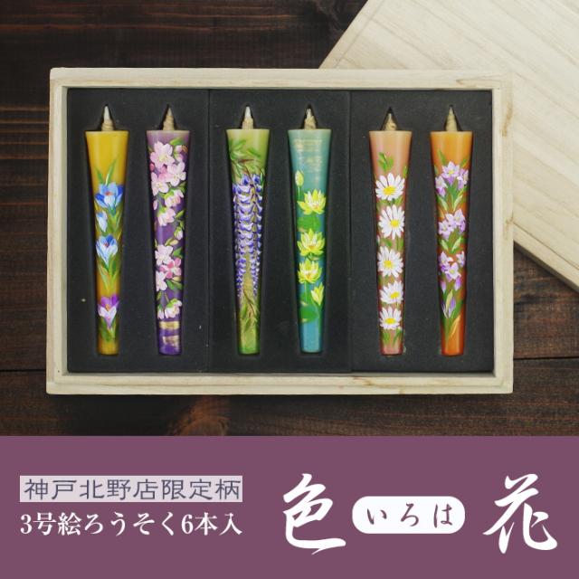 【送料無料】3号絵ろうそく6本入 【色花(いろは)】