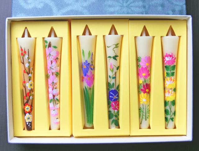 【当店お任せセット】3号絵ろうそく6本入「花の詩」