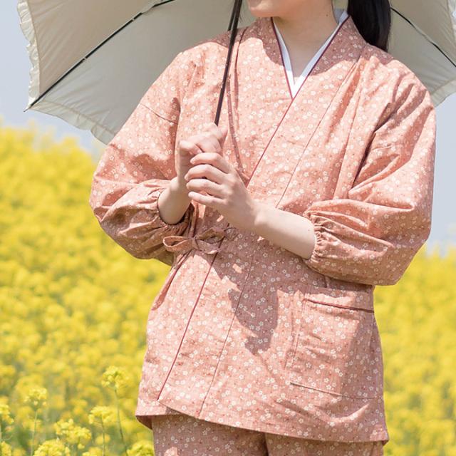 女性総柄作務衣 No.27番 絣桜柄 (ピンク)