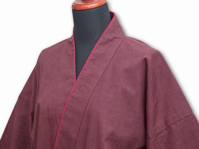 女性紬無地作務衣